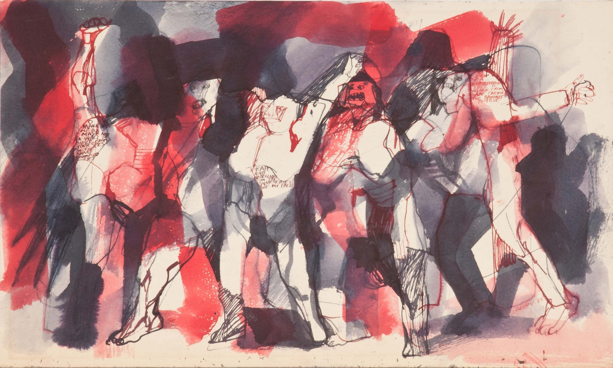 Expressionist Figure Scene<br>1960s Ink Wash<br><br>#0407