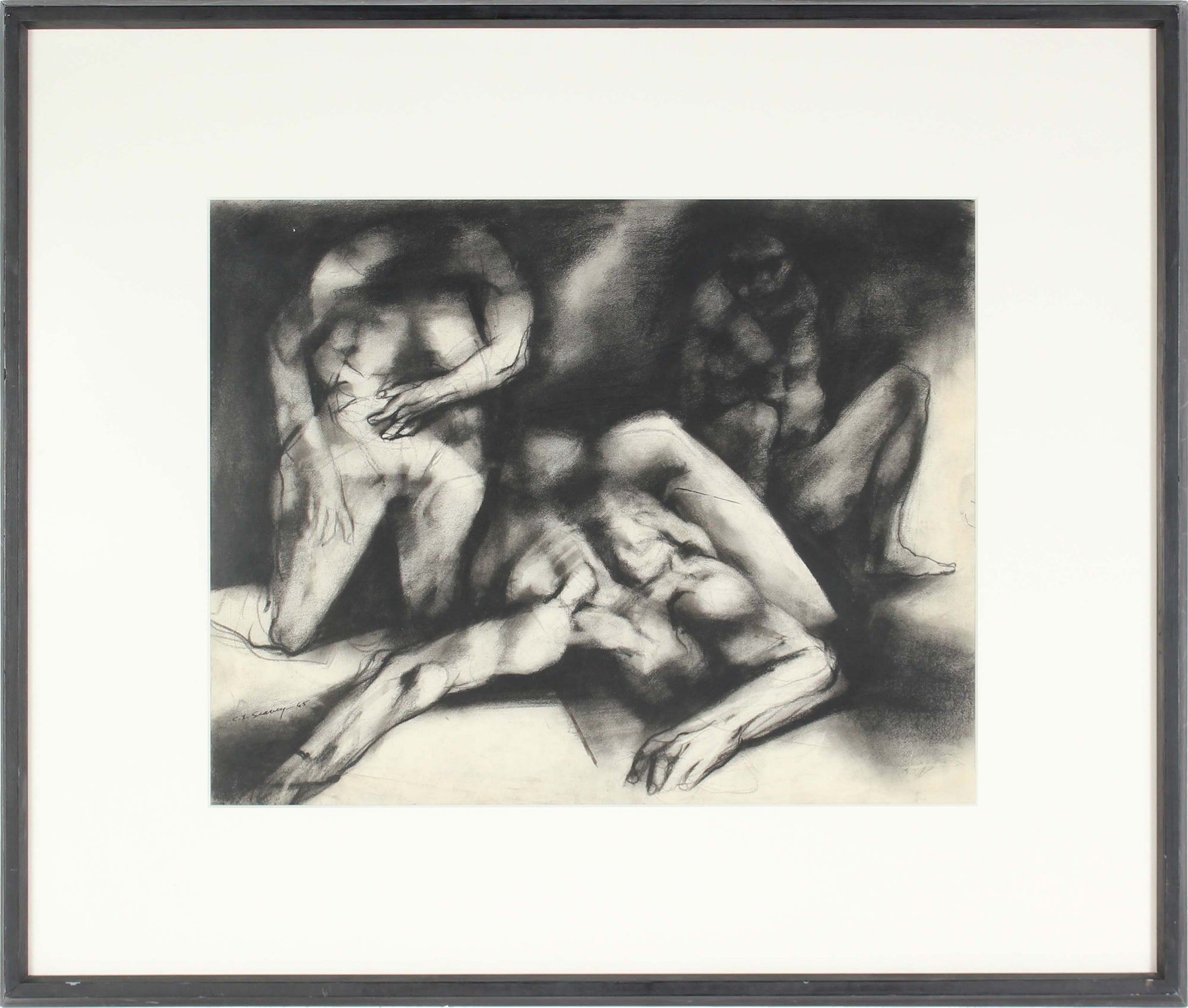 Monochromatic Expressionist Figures<br>Charcoal, 1960s<br><br>#0418