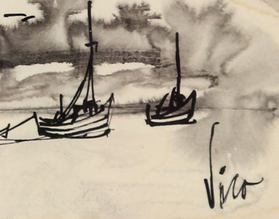 Petite Seascape Ink Wash<br>Mid Century Ink on Paper<br><br>#0479