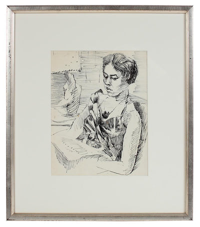 Quiet Contemplation <br>Modernist Ink Drawing <br><br>#10799