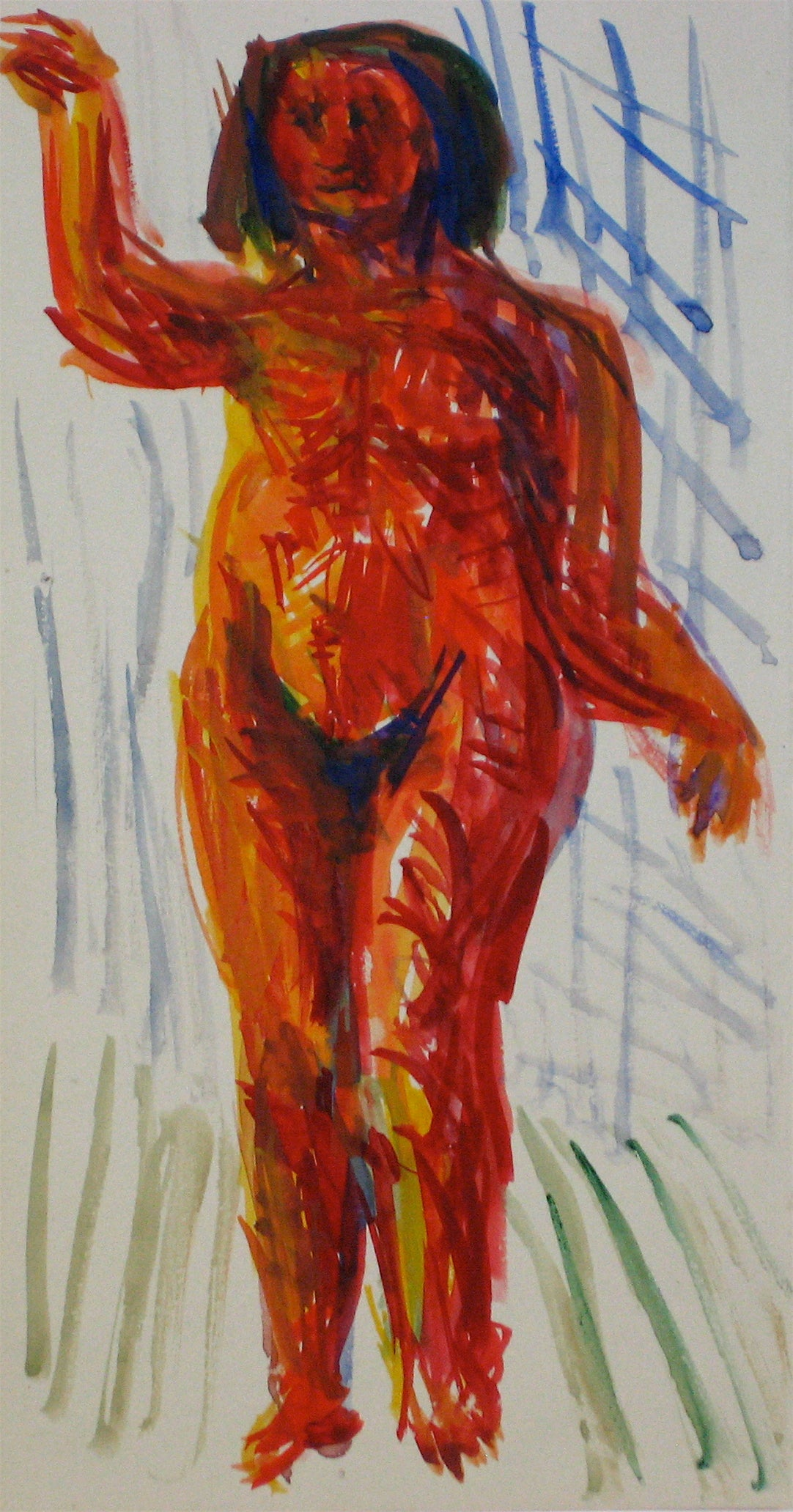 Colorful Expressionist Figure Abstract in Red<br>Early 20th Century Watercolor<br><br>#11253