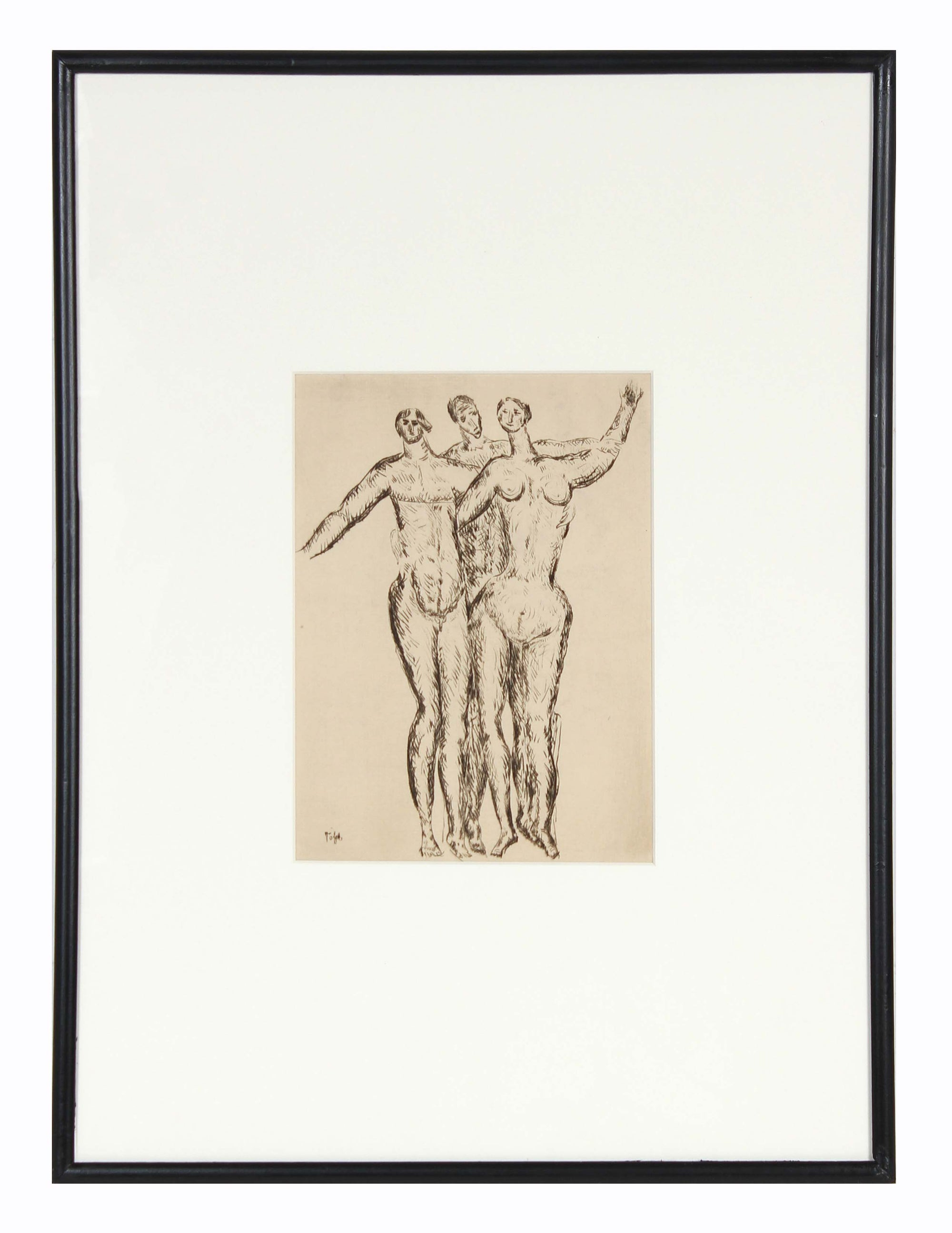 Three Embracing Expressionist Figures<br>Early 20th Century Etching<br><br>#11256