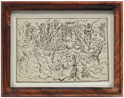 Expressionist Celestial Figurative Scene <br>Early 20th Century Ink <br><br>#11311