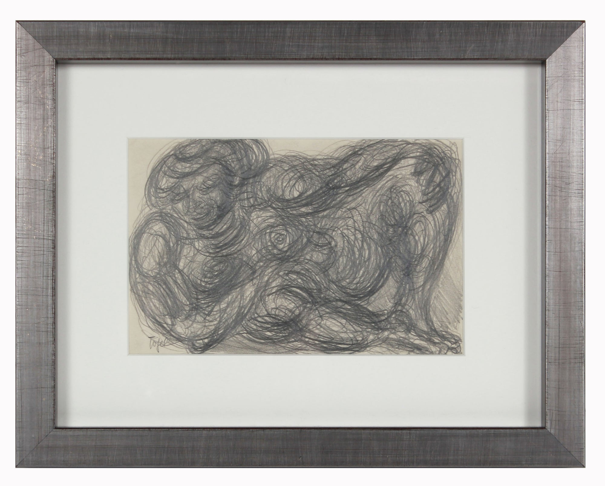 Swirled Reclining Figure <br>Early 20th Century Graphite <br><br>#11923