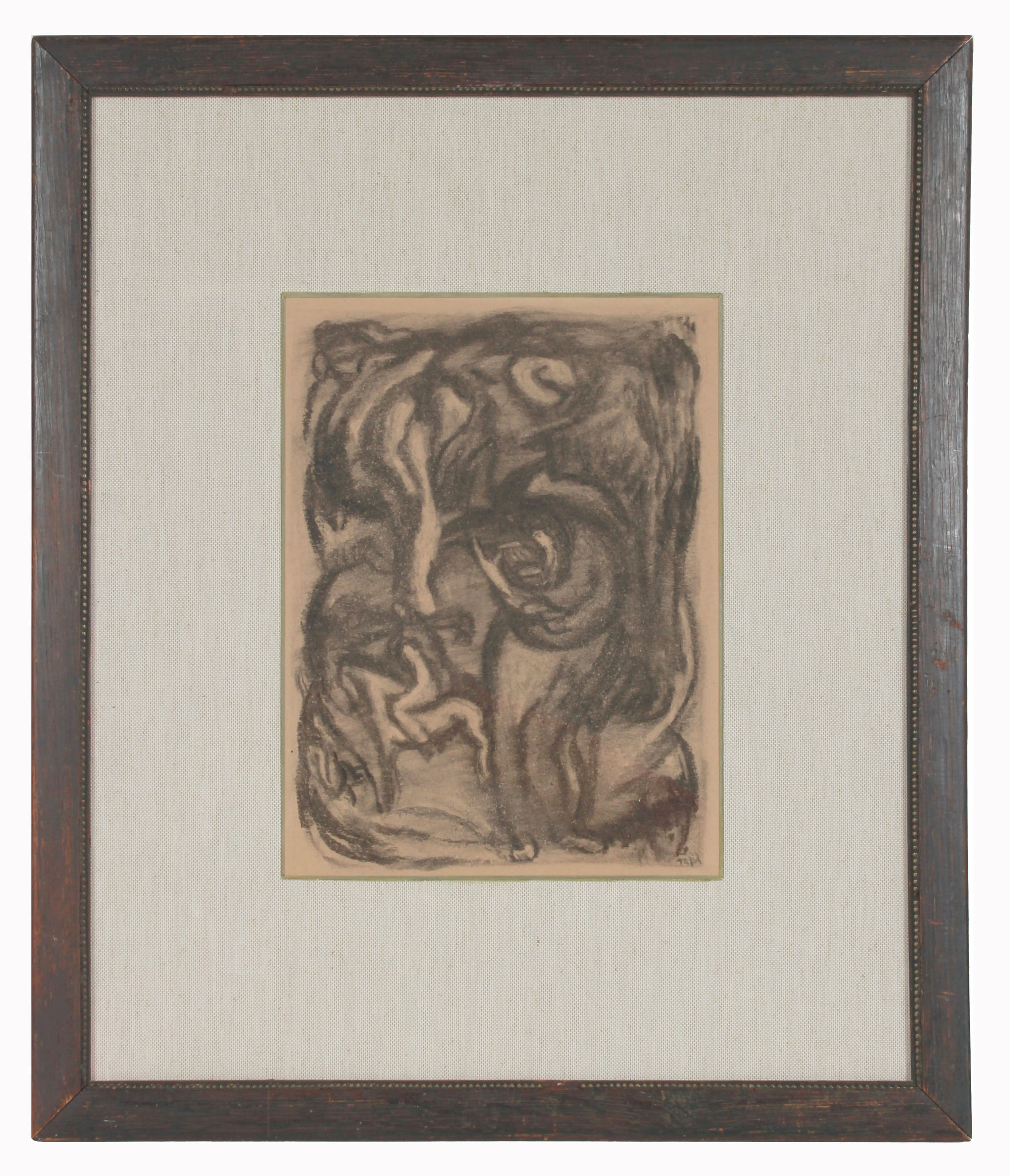 Expressionist Celestial Figurative Scene <br>Early 20th Century Charcoal <br><br>#11932