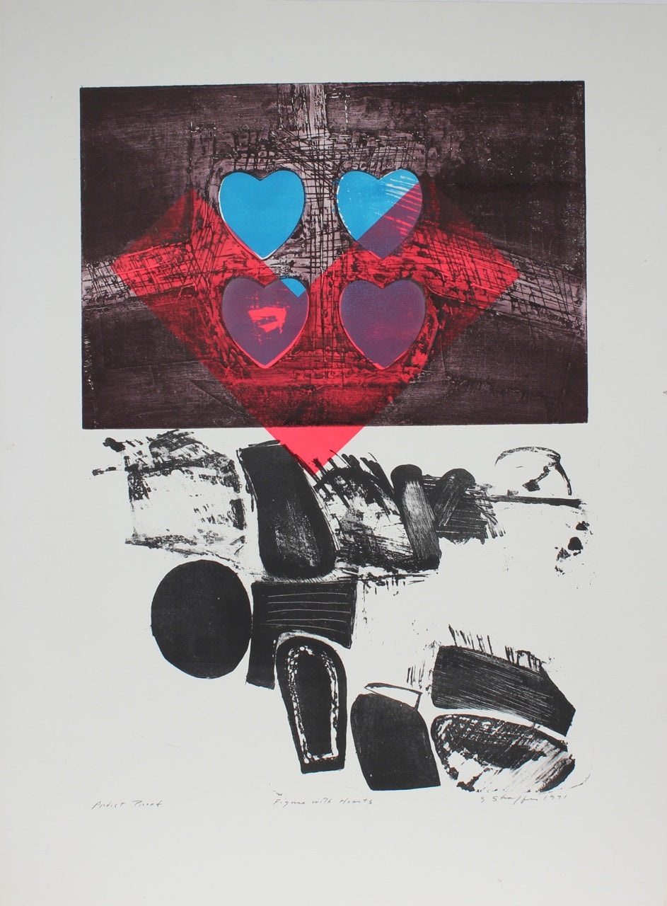 <i>Figure with Hearts</i><br>1991 Collograph & Lithograph<br><br>#11973