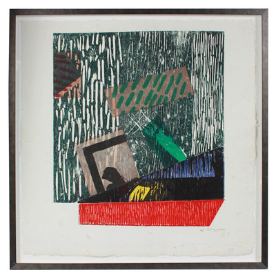 Graphic Abstract in Primary Colors <br>1989 Collograph <br><br>#12074