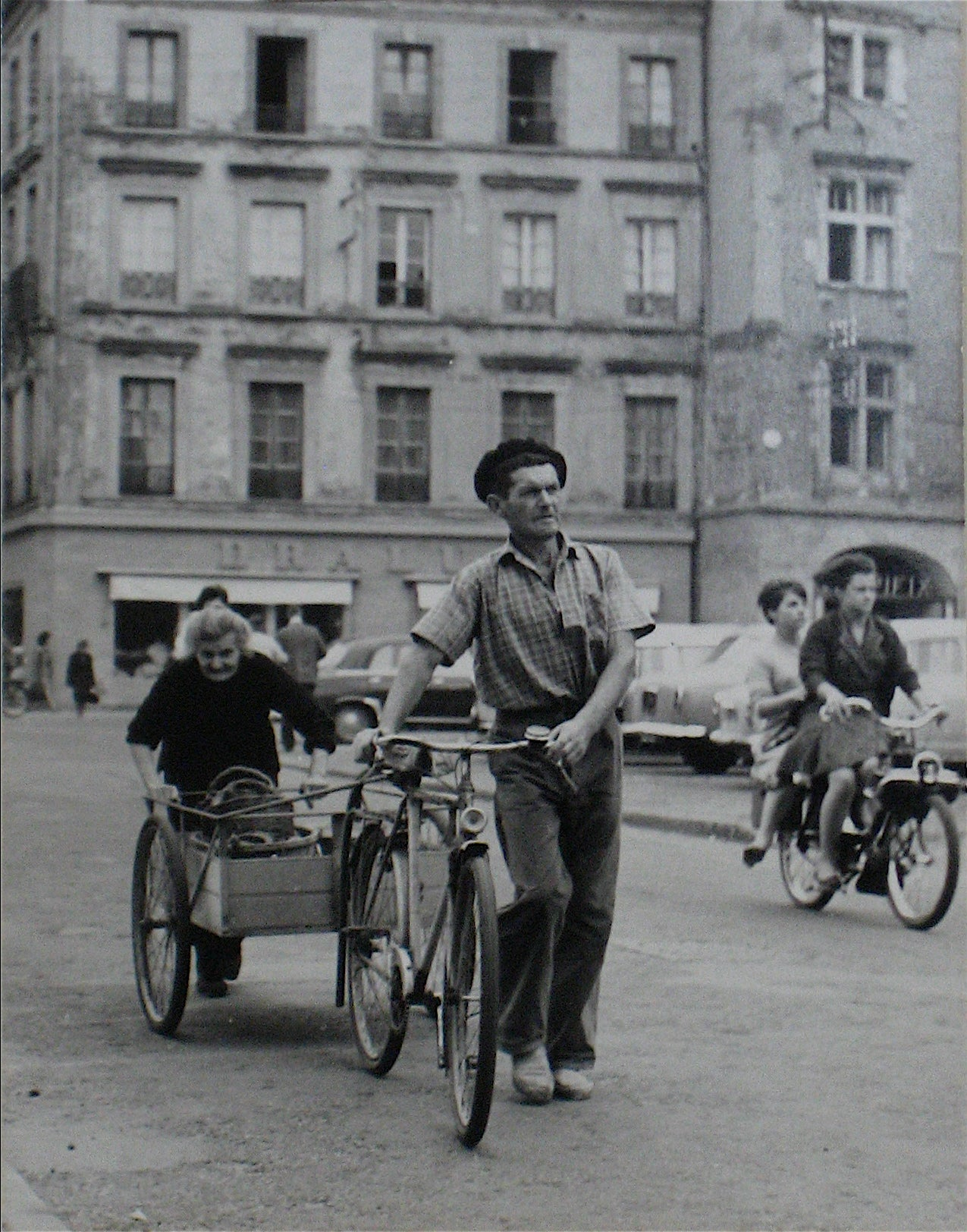 Man with Bike - Yugoslavia <br>1960s Silver Gelatin Print <br><br>#12291