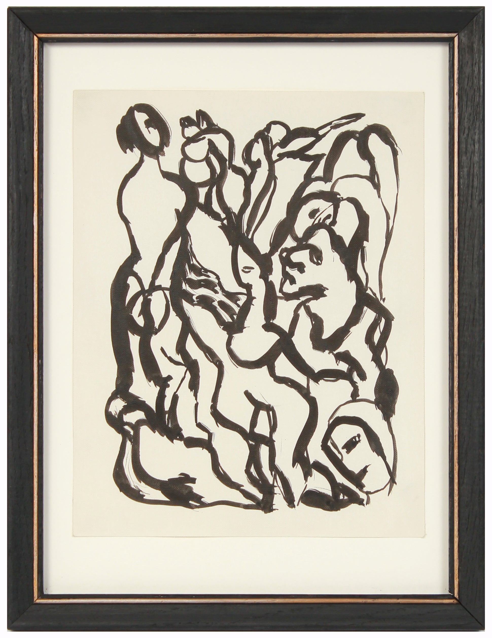 Bold Modernist Abstracted Figures <br>Early-Mid 20th Century Ink <br><br>#13522