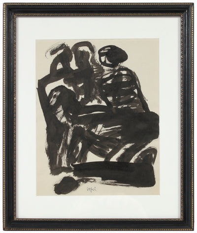 Modernist Abstracted Figures <br>Early-Mid 20th Century Ink <br><br>#14249