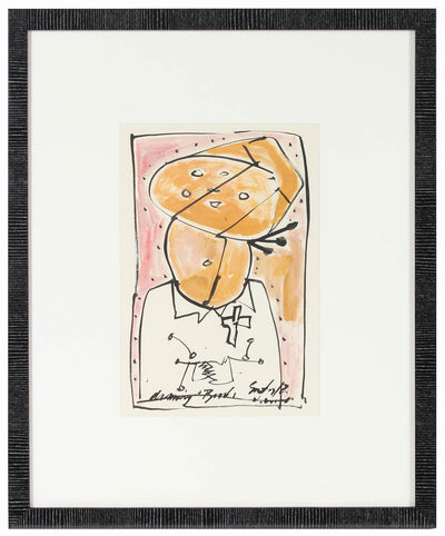 Modernist Figurative Abstract<br>Oil & Ink, 1967<br><br>#14524