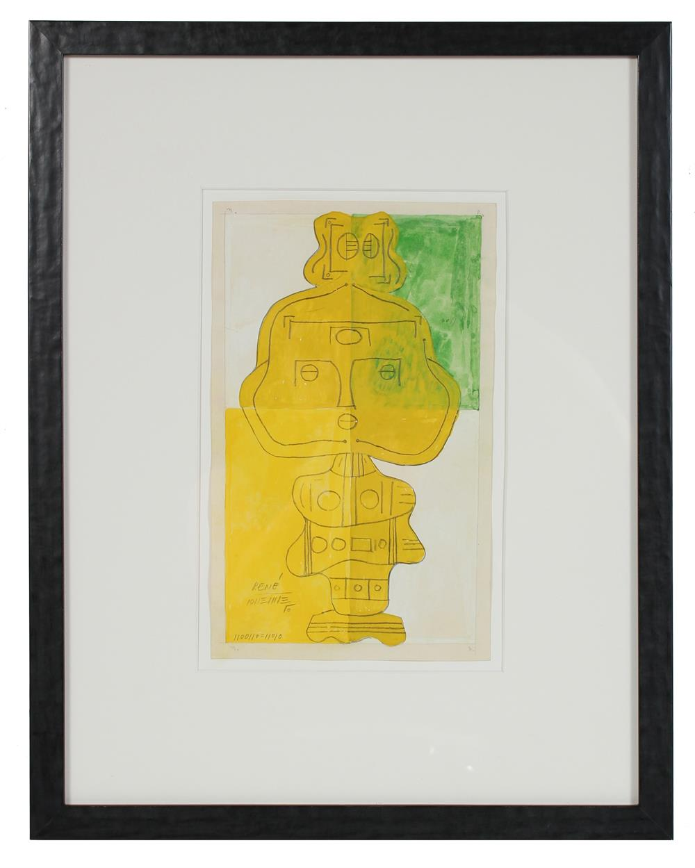 Mid Century Yellow Totem<br>Watercolor & Graphite<br><br>#14535