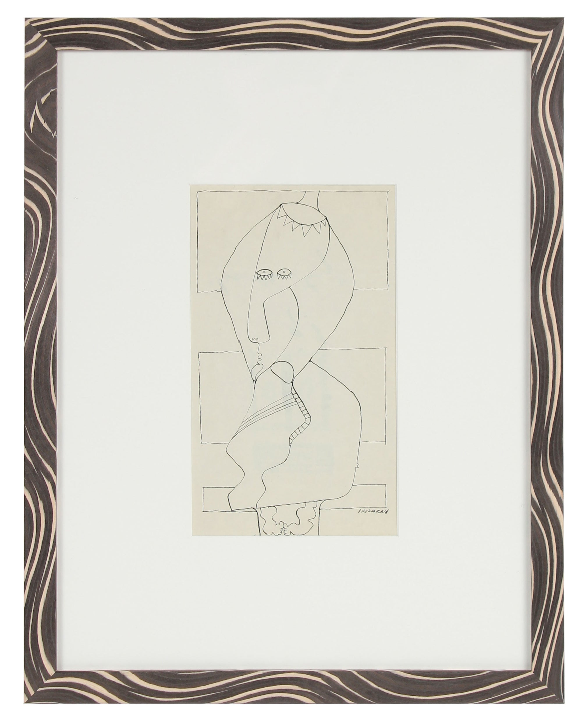 Surreal Linear Figure Abstraction <br>Mid Century Ink <br><br>#14599