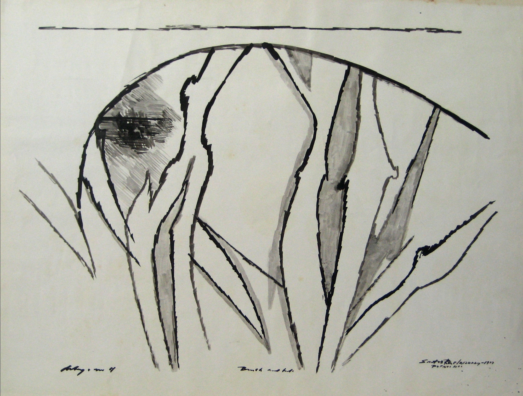 Modernist Monochrome Abstract <br>1967 Ink <br><br>#15074