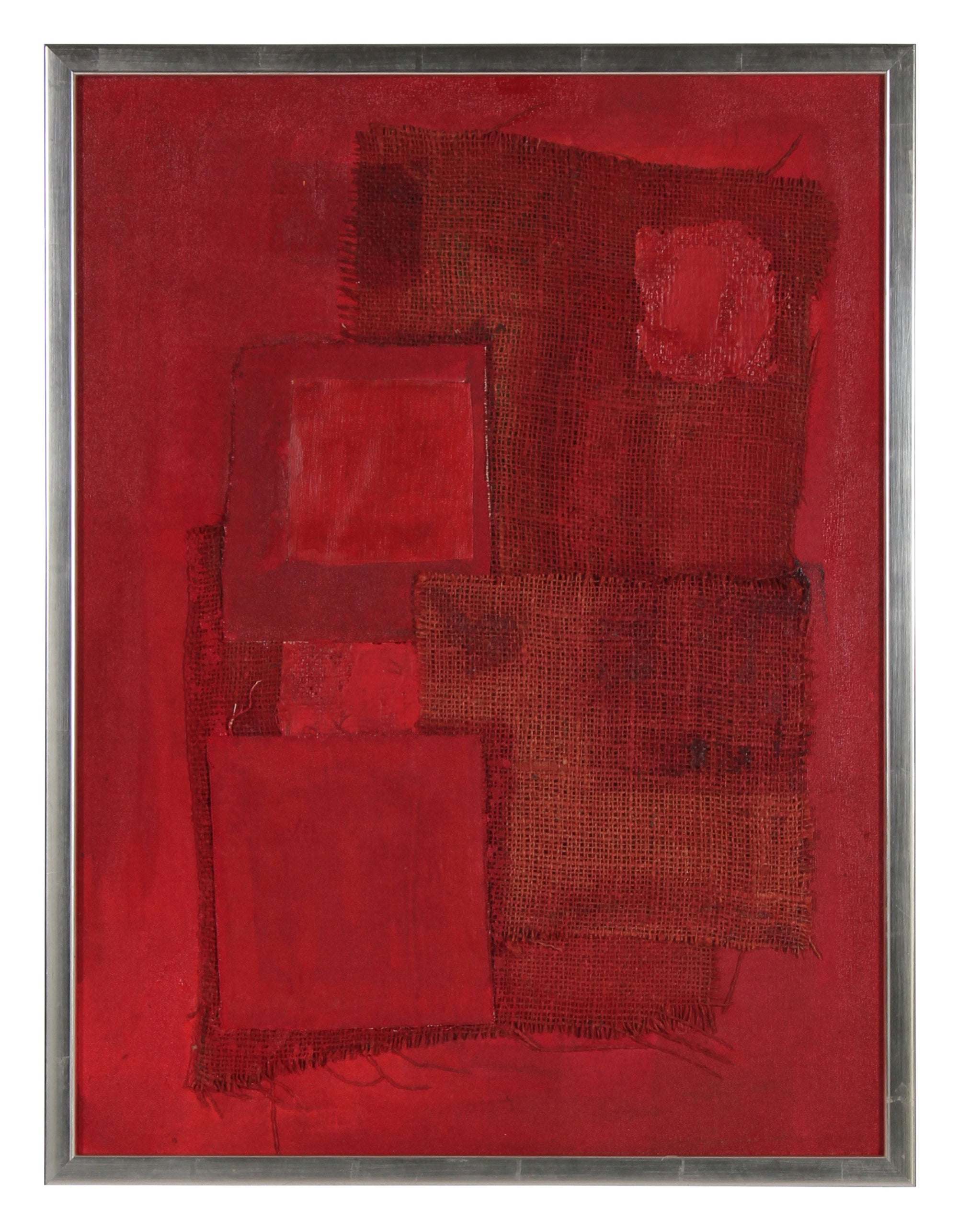<i>Red Assemblage</i> <br>Mid Century Acrylic & Fabric Collage <br><br>#1578