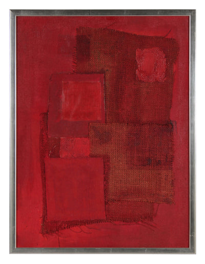 <i>Red Assemblage</i> <br>Mid Century Acrylic & Fabric Collage <br><br>#43114