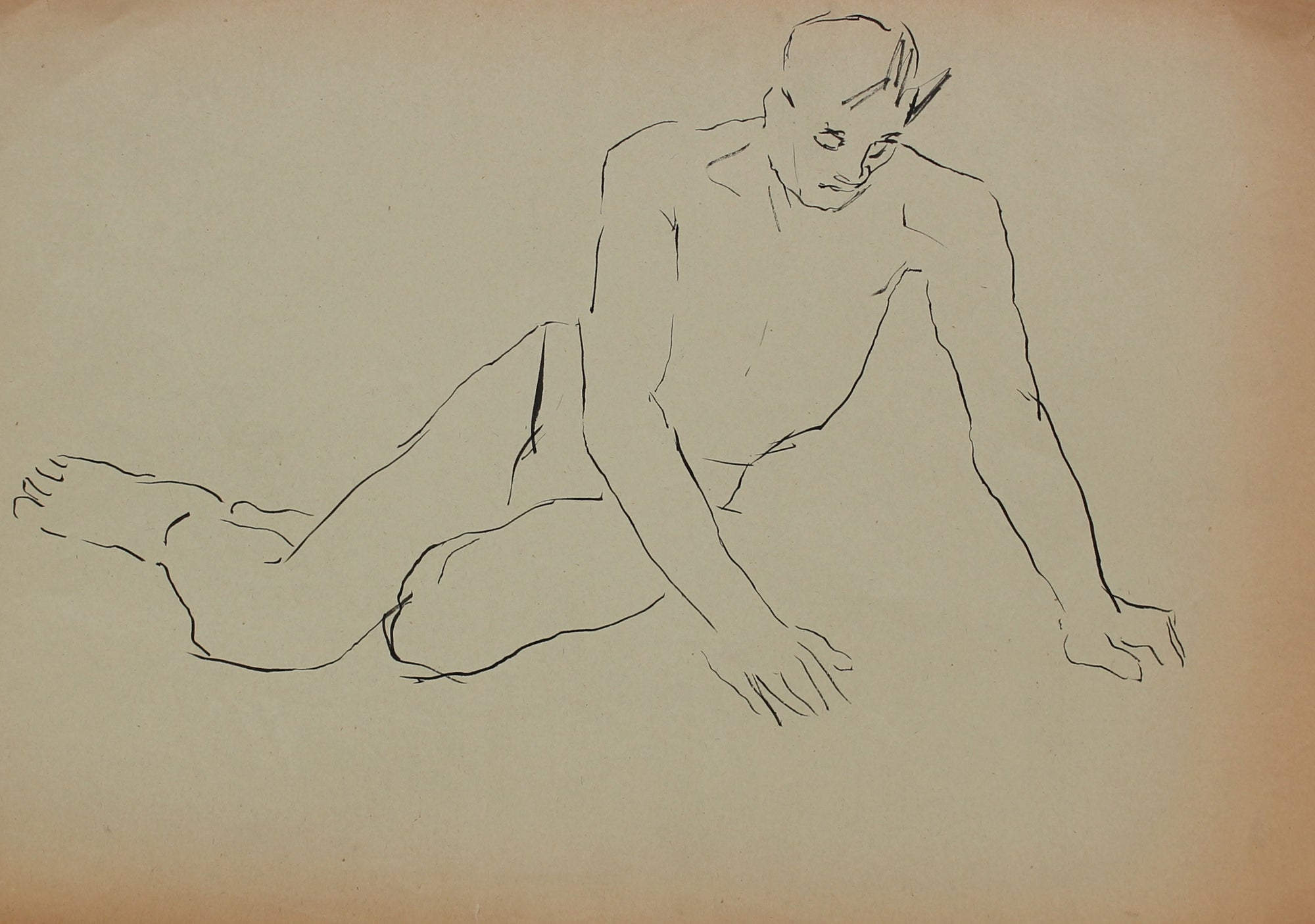 Pen & Ink Male Nude<br>1930-50s<br><br>#16036