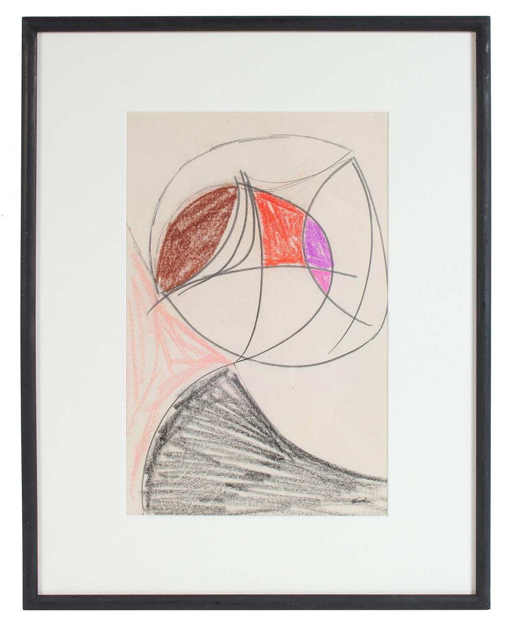 Modernist Geometric Abstract<br>20th Century Graphite, Charcoal & Pastel<br><br>#17691