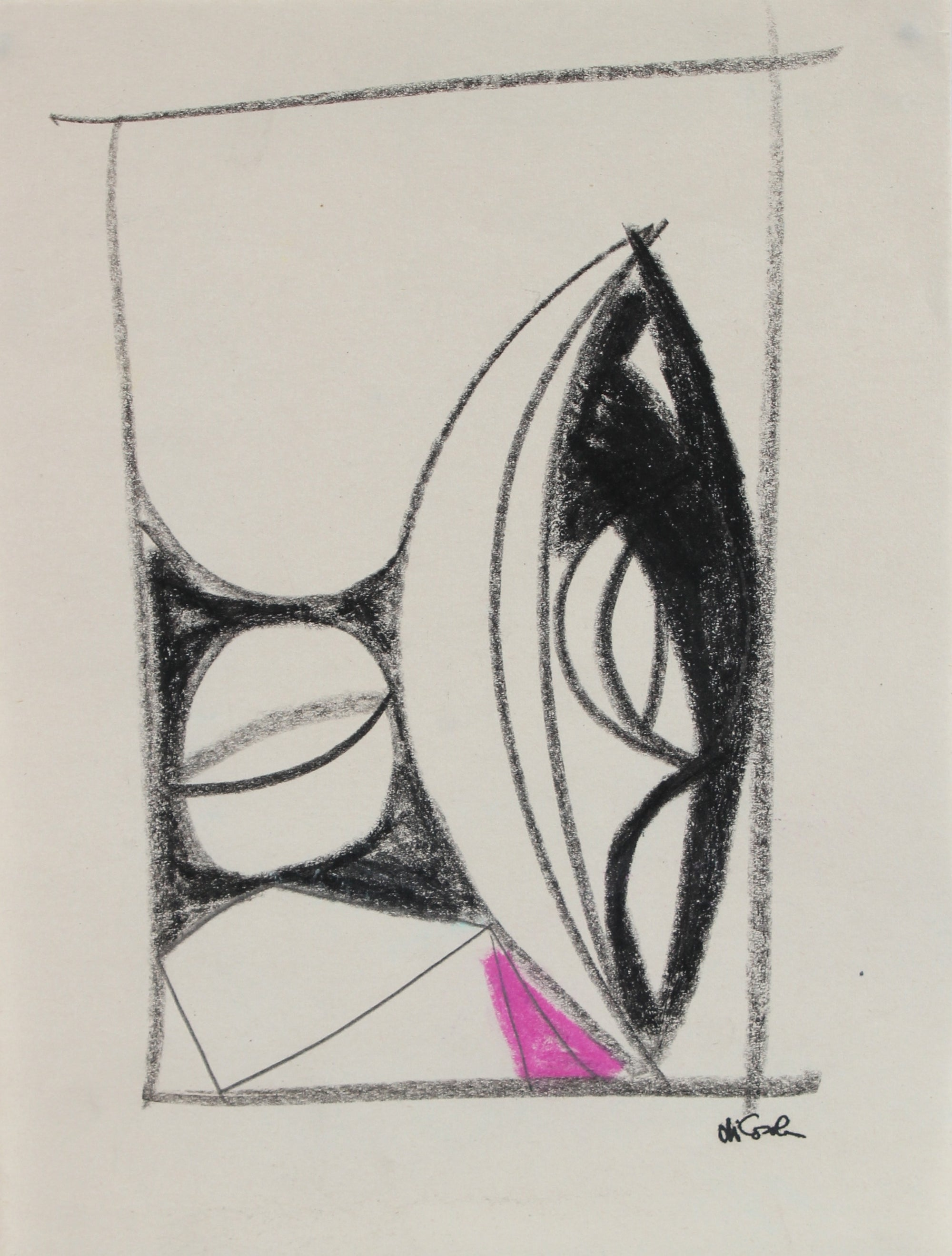 Monochromatic Modernist Abstract<br> 20th Century Graphite, Charcoal & Pastel<br><br>#17693
