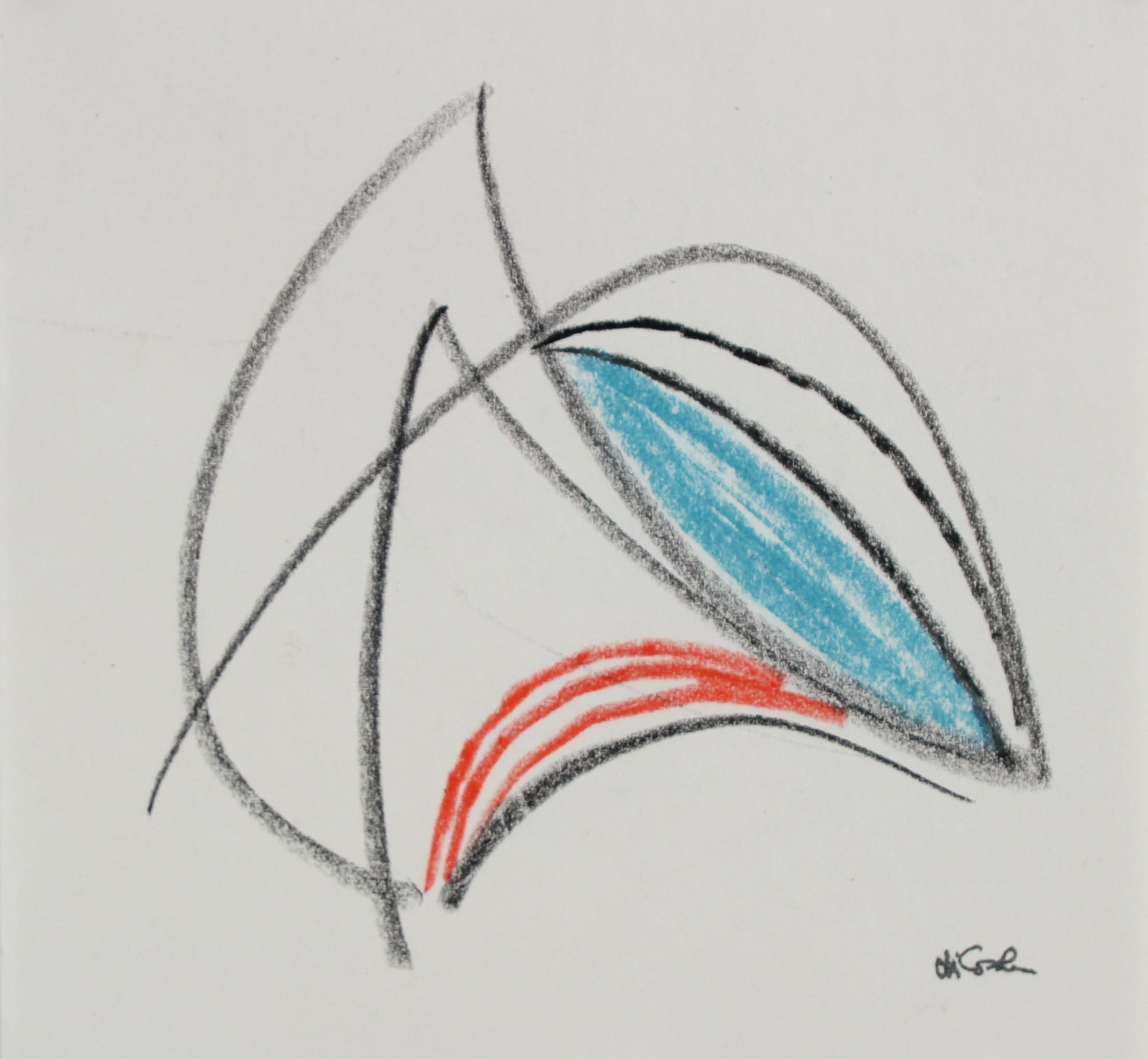 Angular Modernist Abstract<br> 20th Century Charcoal & Pastel<br><br>#17697