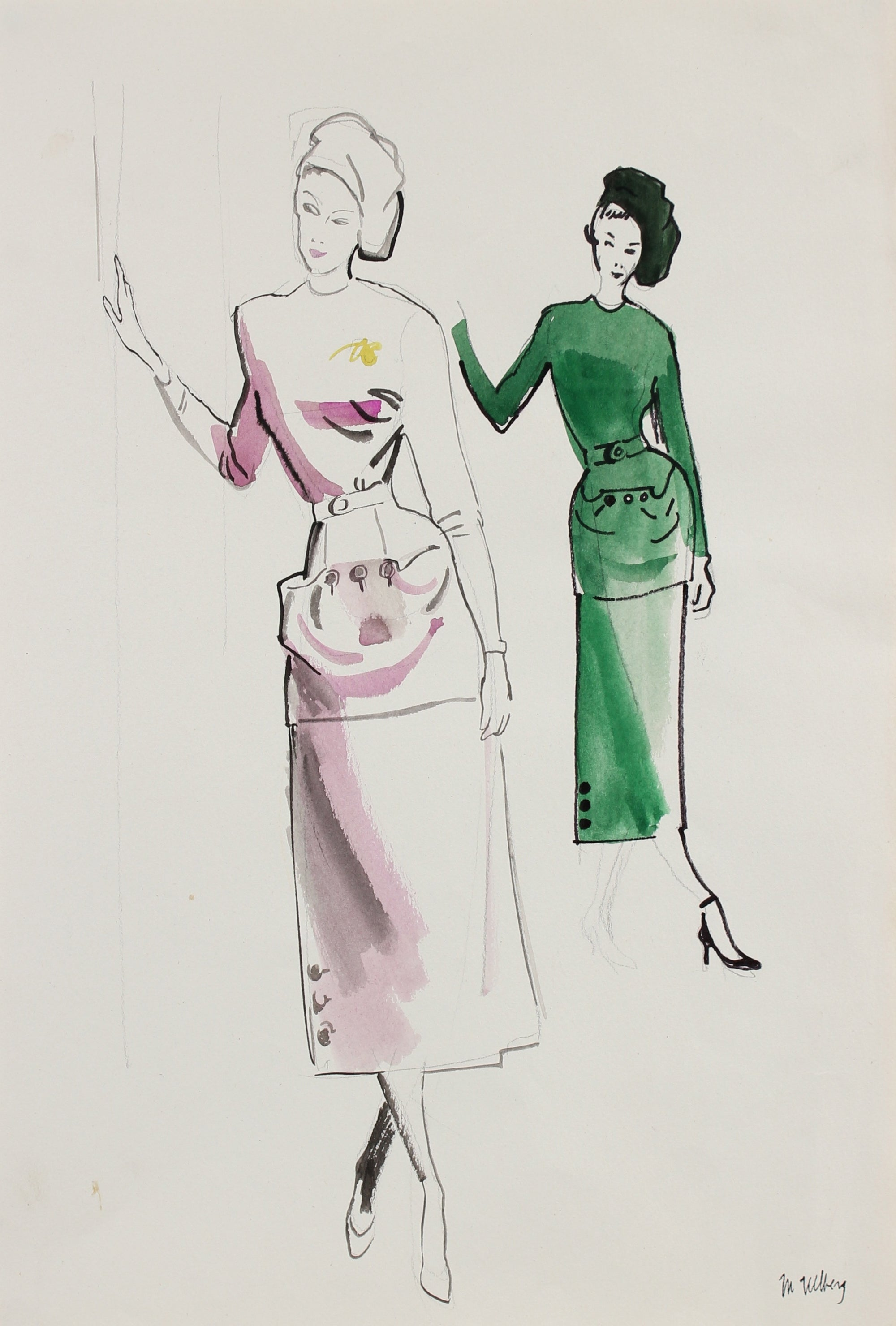 Models in Pink & Green<br>Gouache on Board<br><br>#18480