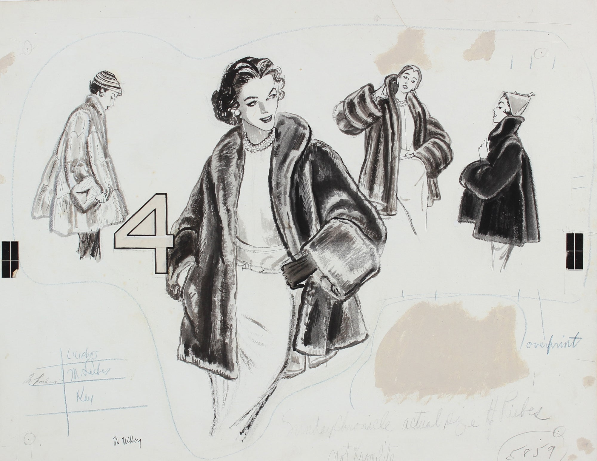 Fur Coat Fashion Proof<br>Gouache, 1946-54<br><br>#18605