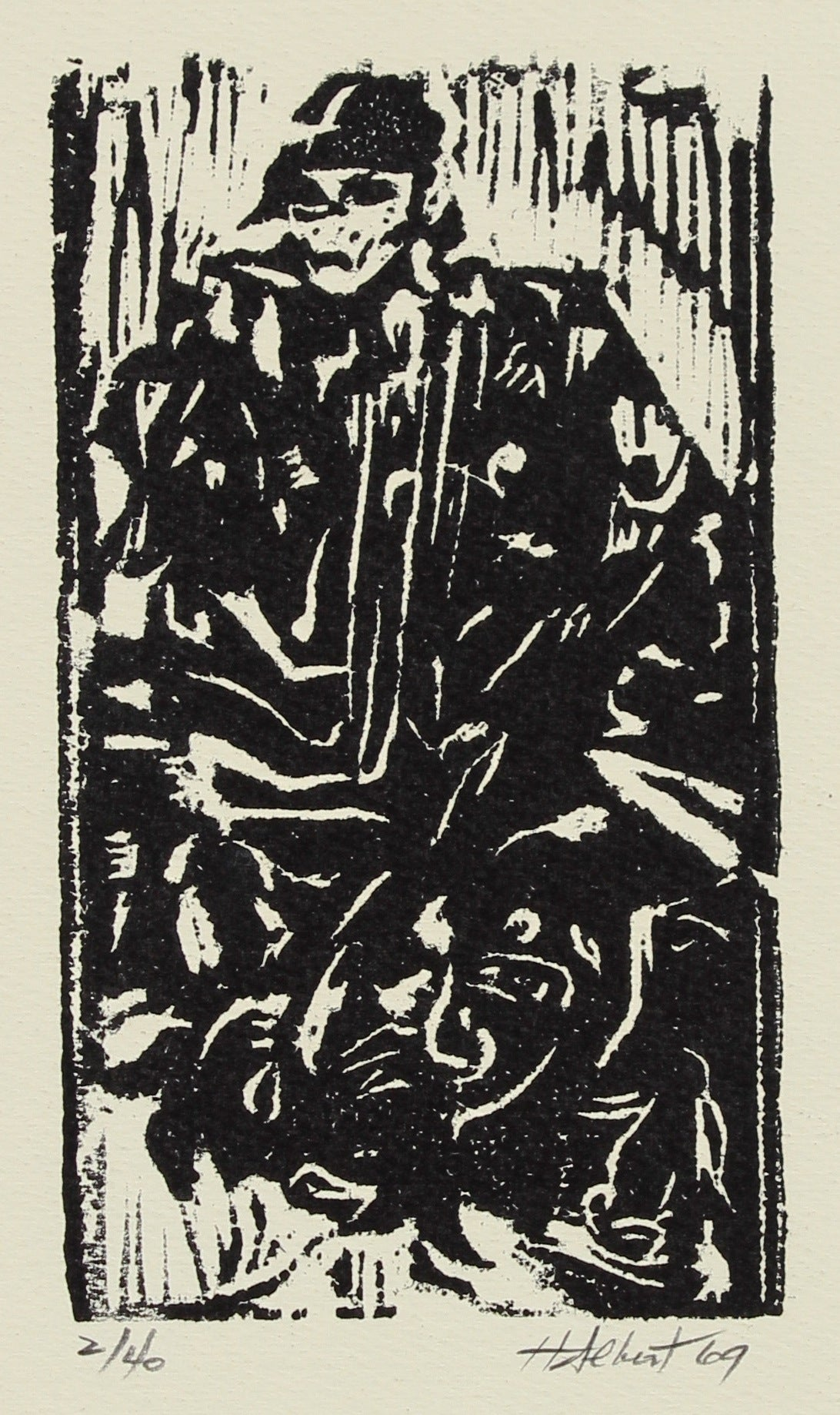 Figure with Helmet<br>1969 Woodcut<br><br>#2144A