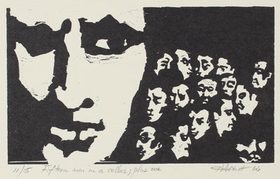 <i>Fifteen Men in a Cellar; Plus One</i><br>Woodcut, 1966<br><br>#2147A