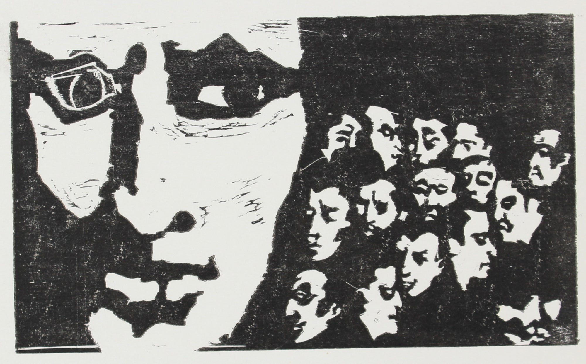 <i>Fifteen Men in a Cellar; Plus One</i><br>Woodcut, 1960s<br><br>#2147B