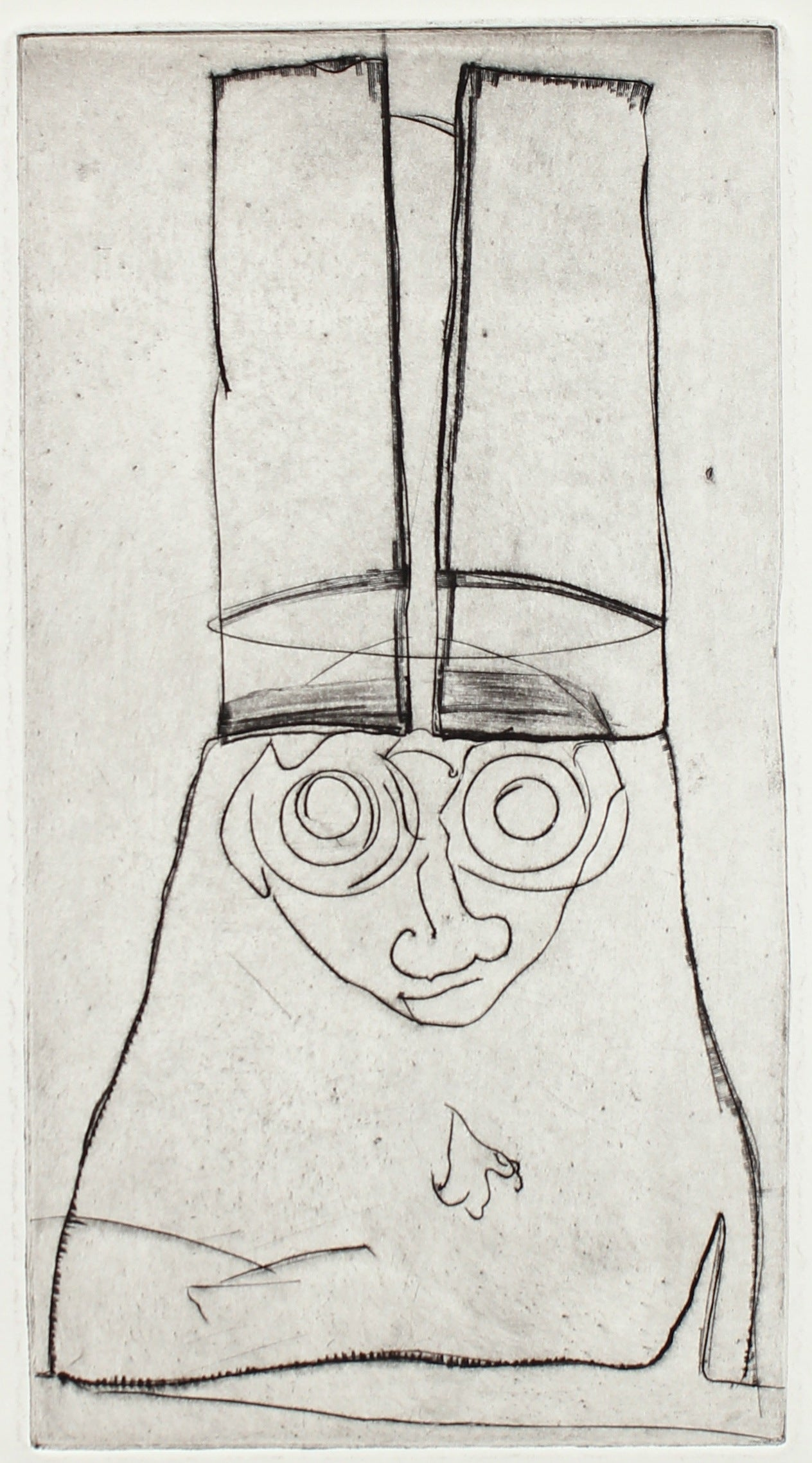Man in a Tall Hat <br>Etching, 1960-70s <br><br>#2150A