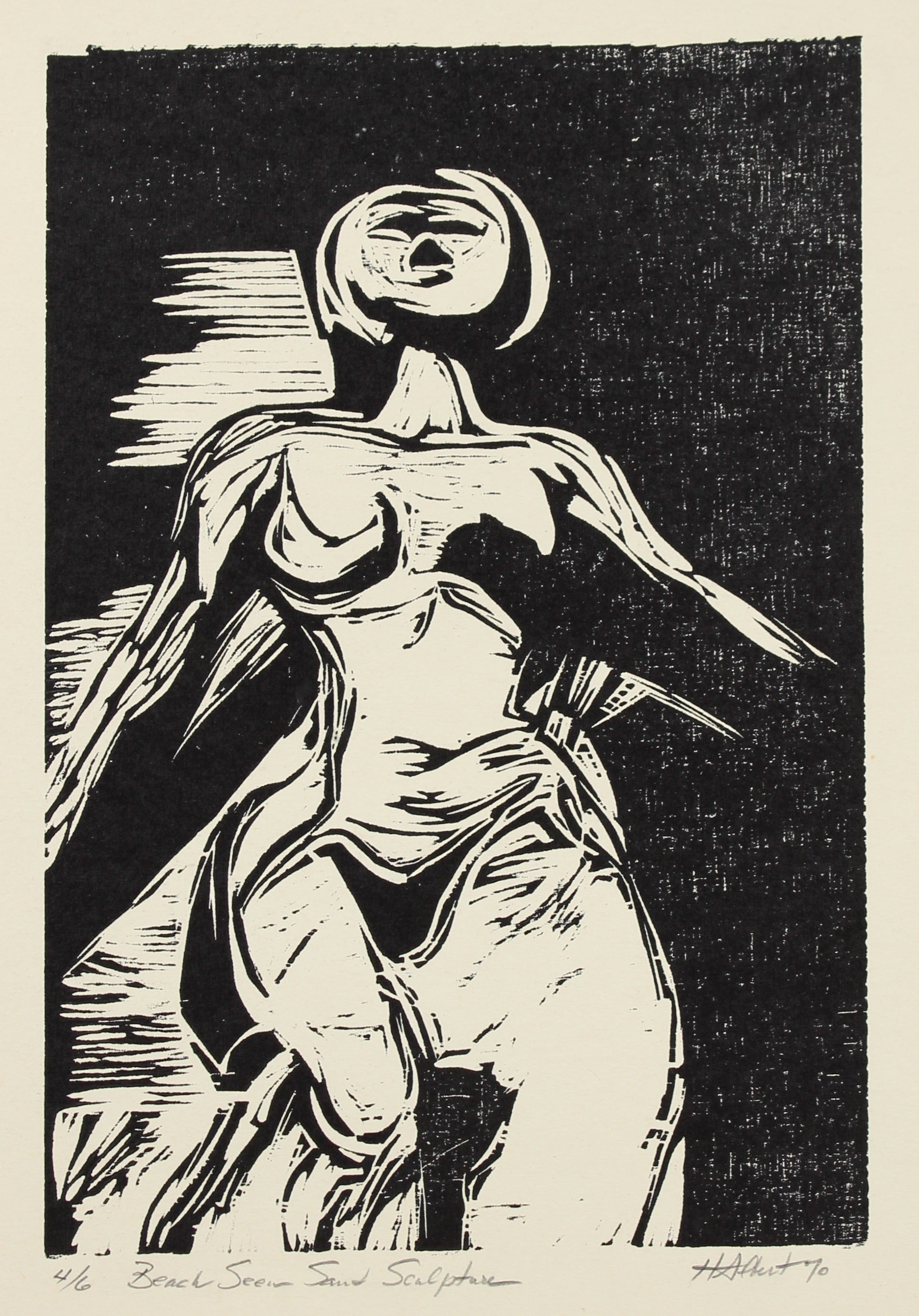 <i>Beach Seen Sand Sculpture</i><br>Woodcut, 1970<br><br>#2151A
