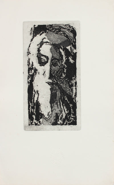 Old Man in Abstraction<br>Etching, 1960-70s<br><br>#2162