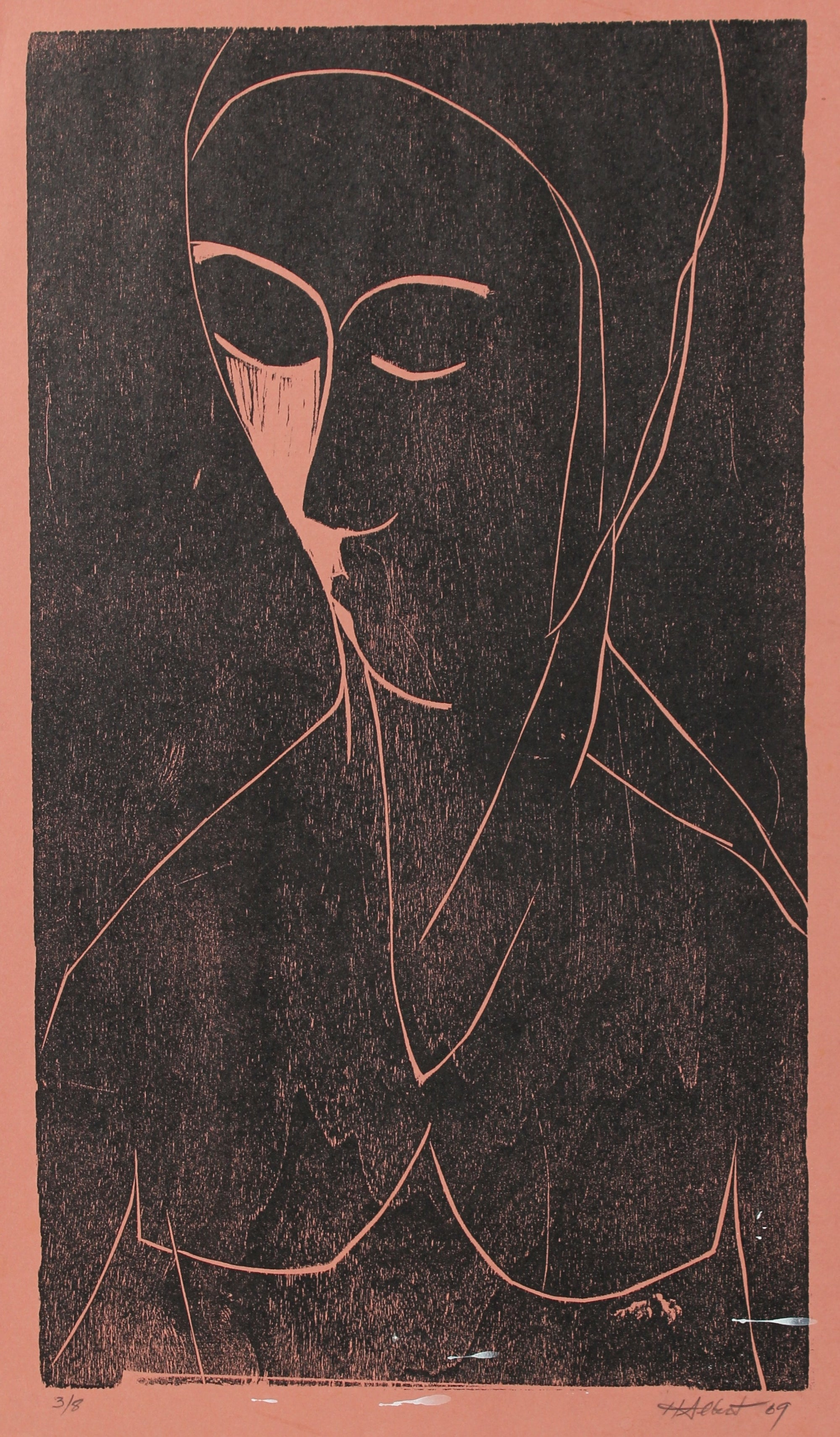 Abstracted Figure in Pink<br>1969 Woodcut<br><br>#2172