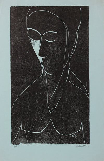 Abstracted Figure in Blue<br> Woodcut, 1969<br><br>#2173