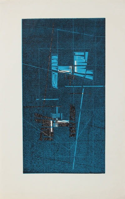 Geometric Woodcut Abstract<br>C. 1965<br><br>#2182