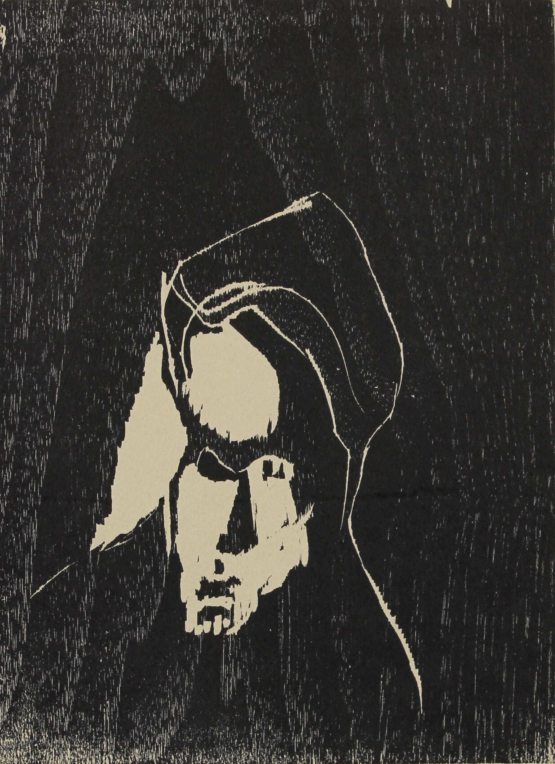 Abstracted Face Woodcut<br>1960-70s<br><br>#2185