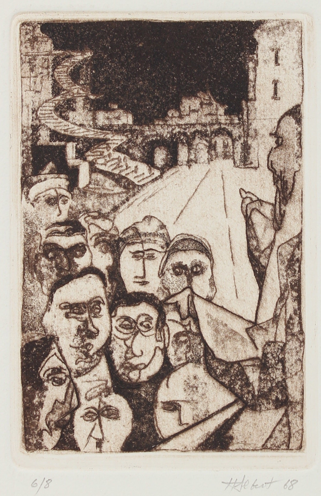 People in the City <br>Etching, 1968 <br><br>#2189