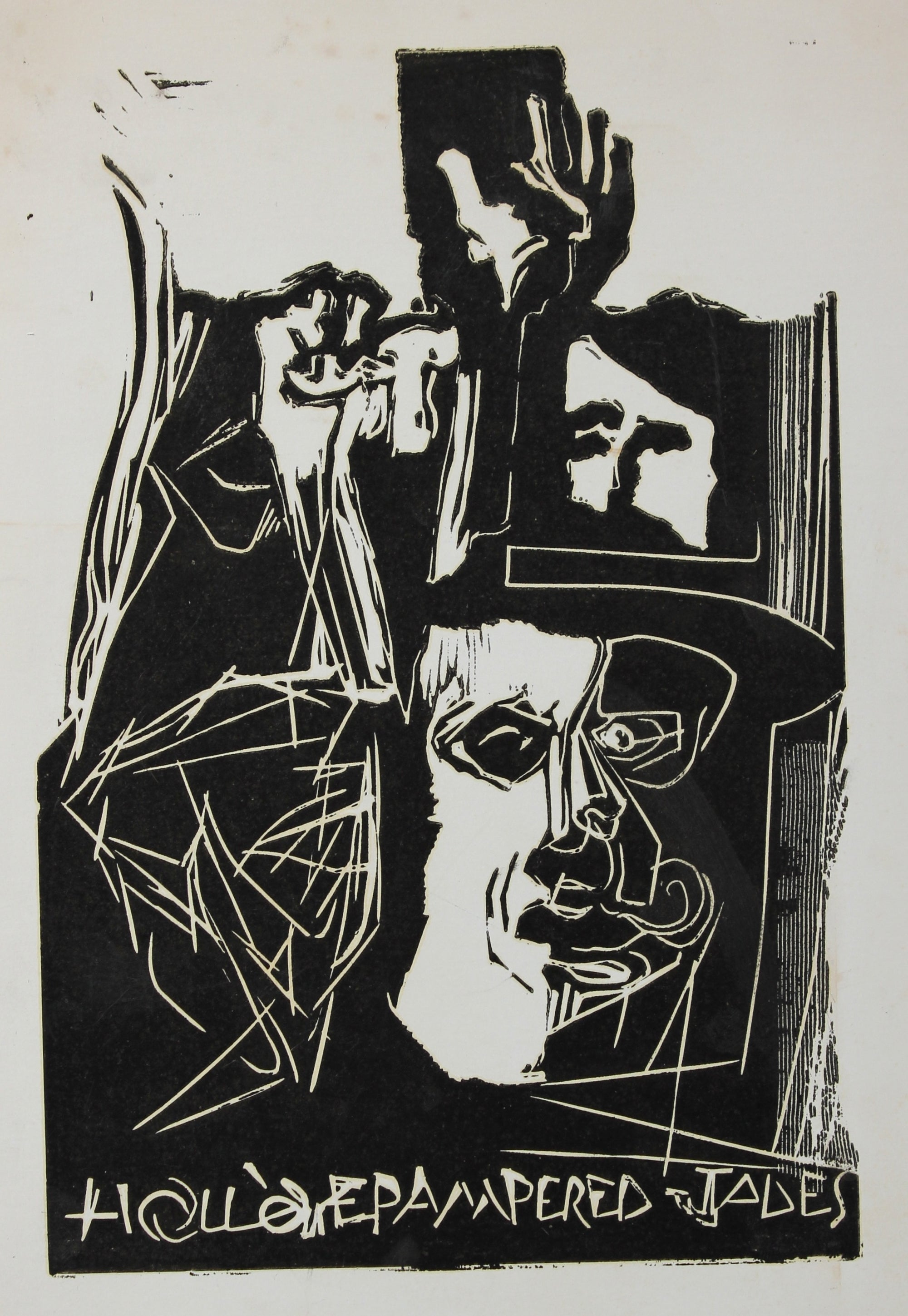 Abstracted Figure Scene <br>Woodcut, 1960s <br><br>#2192B