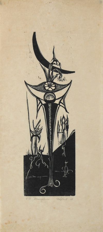 <i>Moonflowers</i><br>1968 Woodcut<br><br>#2202