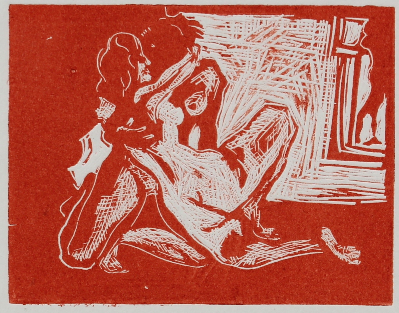 Nudes in Embrace<br>Woodcut, 1960-70s<br><br>#2232A