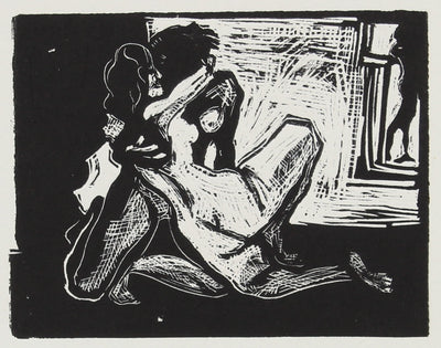 Nudes in Embrace <br>Woodcut, 1960-70s <br><br>#2233A
