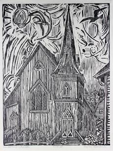 <i>Mendocino Church</i><br>1961 Woodblock<br><br>#33304