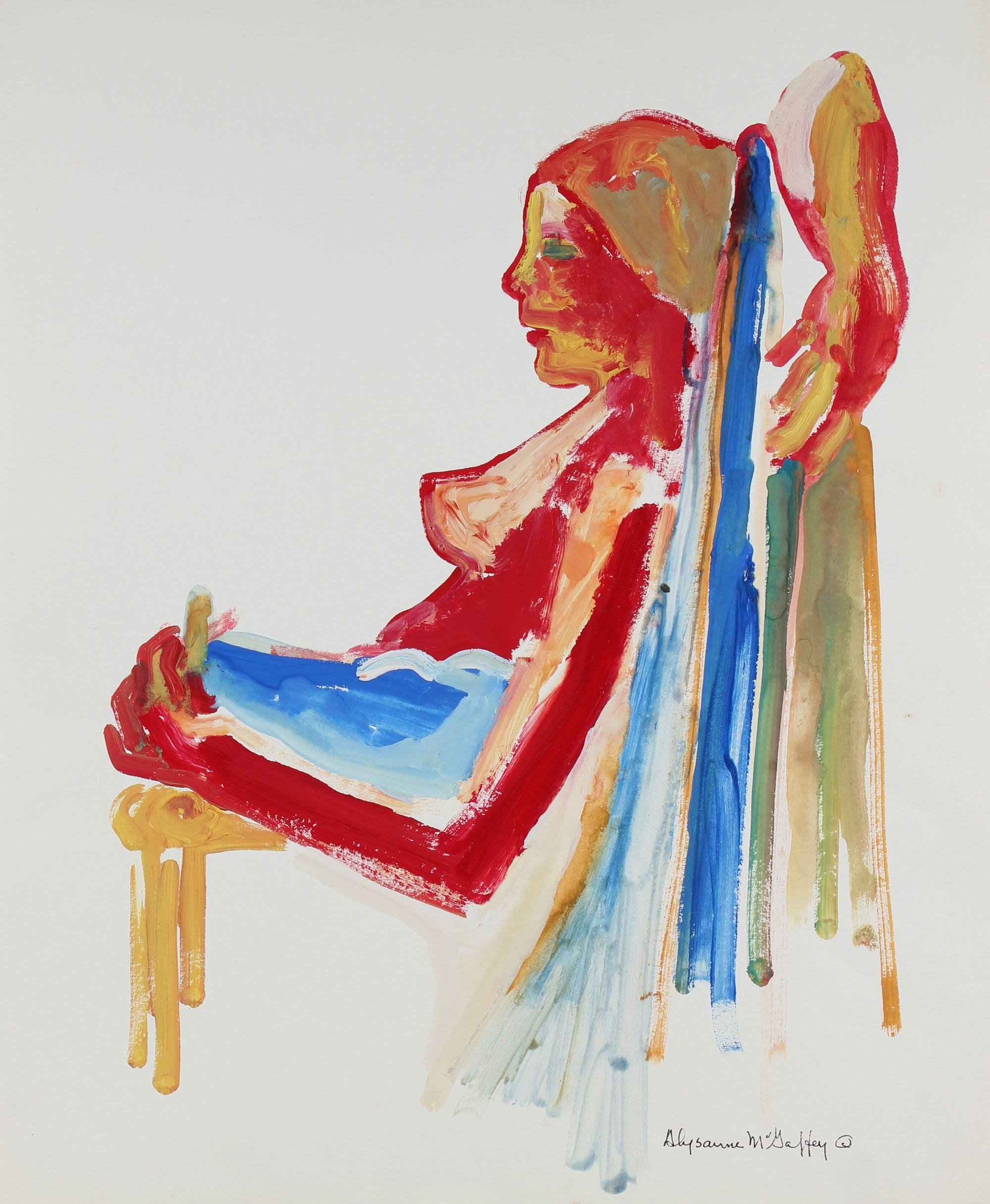 Bay Area Figurative Relaxed Seated Nude <br>1950-60s Distemper <br><br>#23430