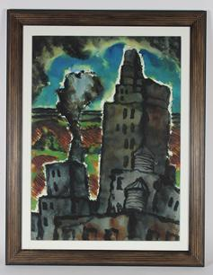 <i>Edge Of The City</i><br>1939 Watercolor<br><br>#33499