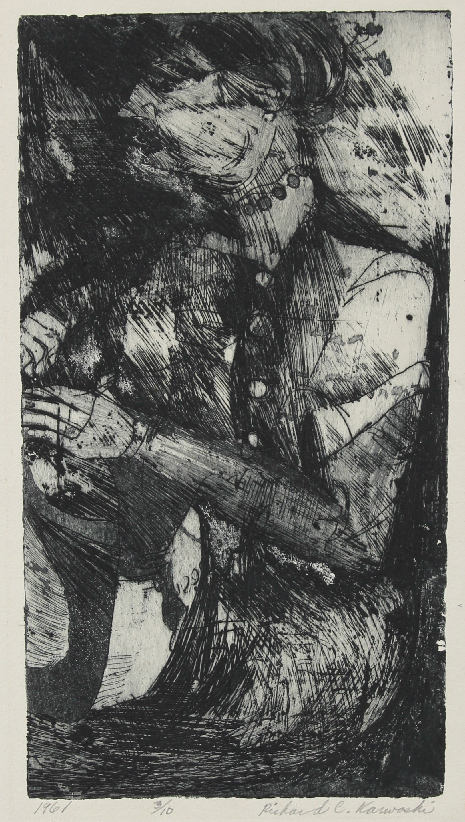 Shadowy Figurative Etching<br>New York, 1961<br><br>#2393