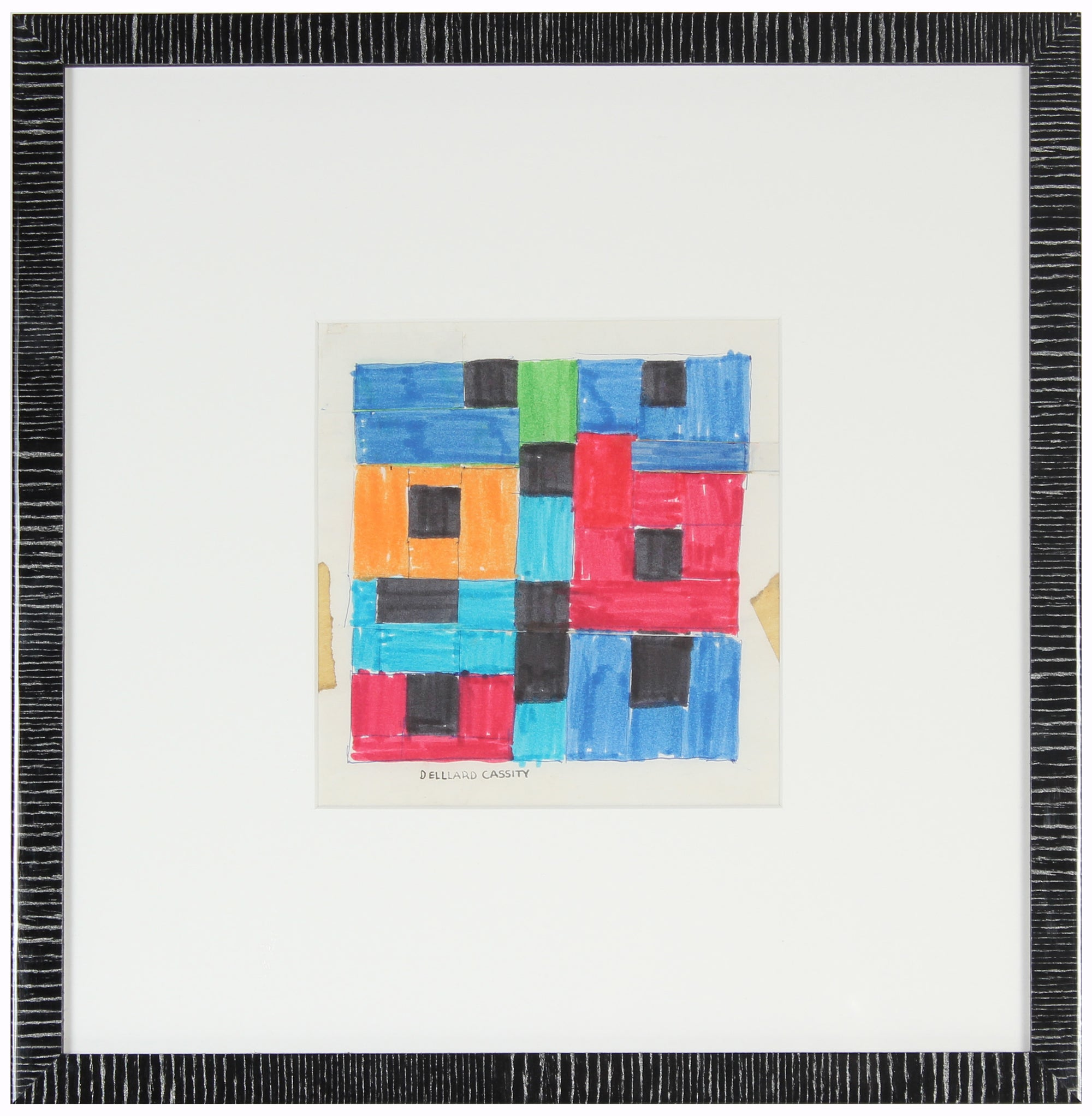 1970s Rectilinear Abstract<br>Ink, Tape, & Cut Paper<br><br>#24308