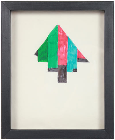 Green & Pink Triangular Hard-Edge Abstract Study <br>Mid Century Ink <br><br>#24450