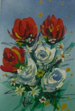 Roses & Daisies<br>Mid Century Oil<br><br>#0475