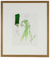 Lime Green Shear Dress<br> Gouache & Ink Fashion Illustration<br><br>#26177