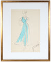 Sky Blue Gown<br> Gouache & Ink Fashion Illustration<br><br>#26217
